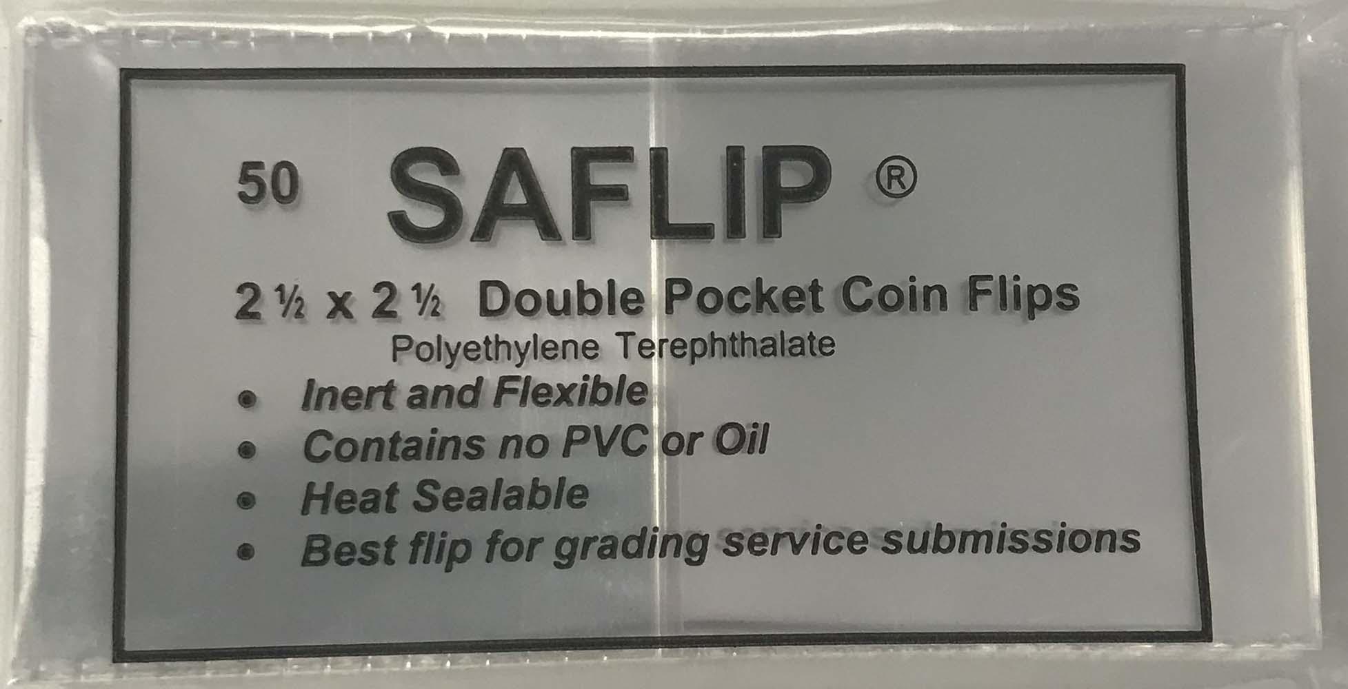 50-2.5x2.5 Double Pocket Vinyl Flips PVC FREE