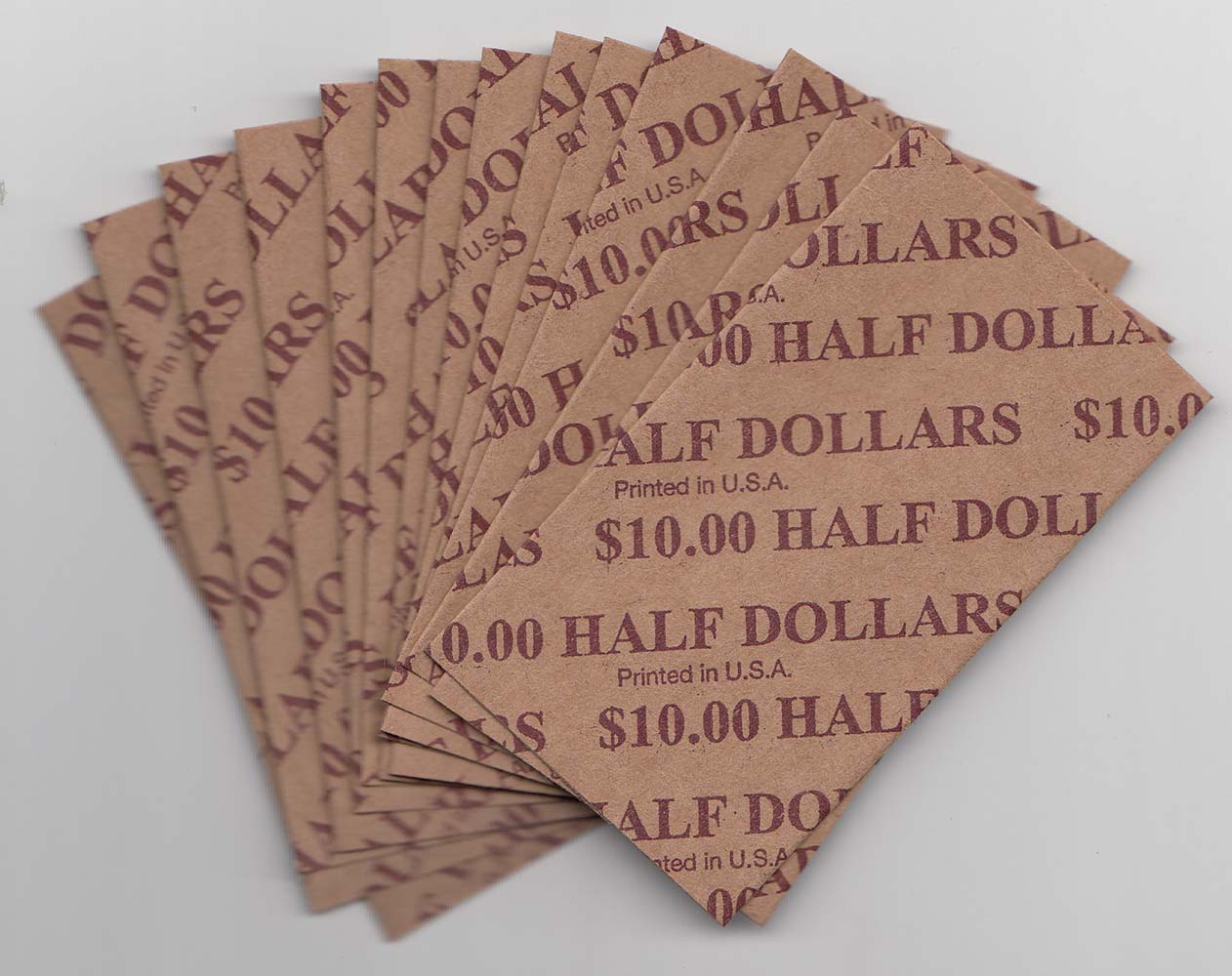 Half Dollar Coin Wrappers 100 Flat Striped Coin Wrappers