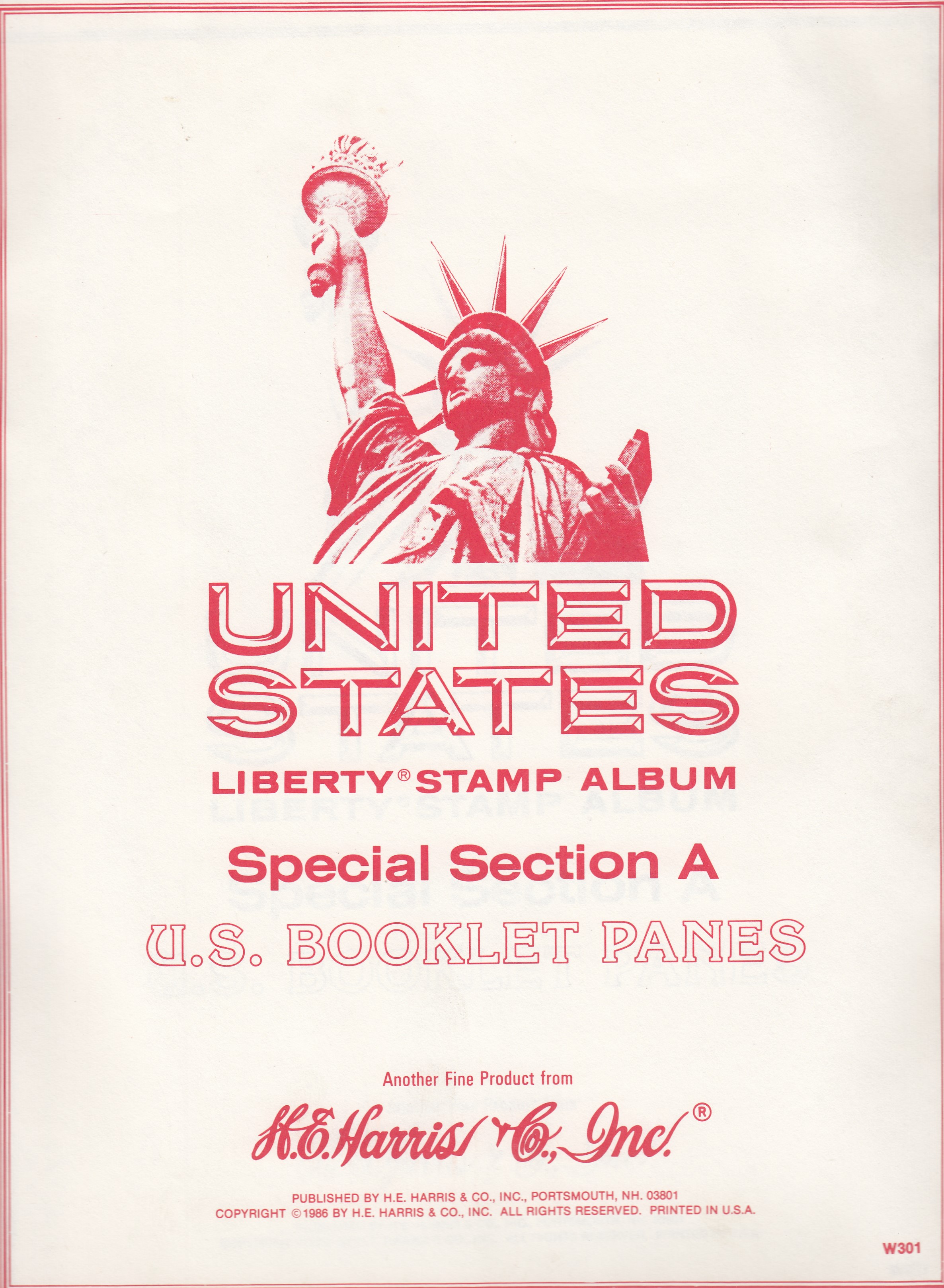 HE Harris Stamp Album -- Special Section A: US Booklet Panes