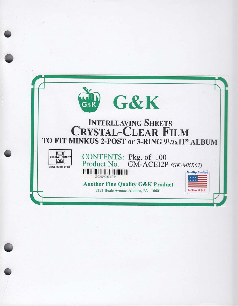 G&K Crystal Clear Interleaving -- Minkus Albums