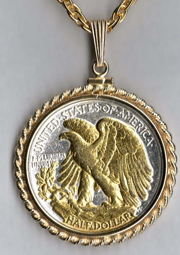 Coin Jewelry 32p Gold On Silver Walking Liberty Half