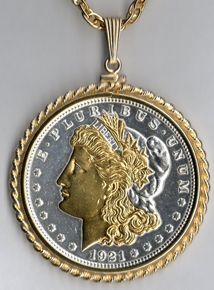 Gold And Silver On Silver Morgan Dollar Obv Necklace