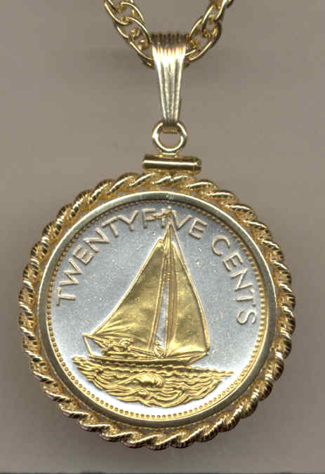 cut coin jewelry Sailboat bangle Bahama 25 cent coin boating charm bracelet silver color