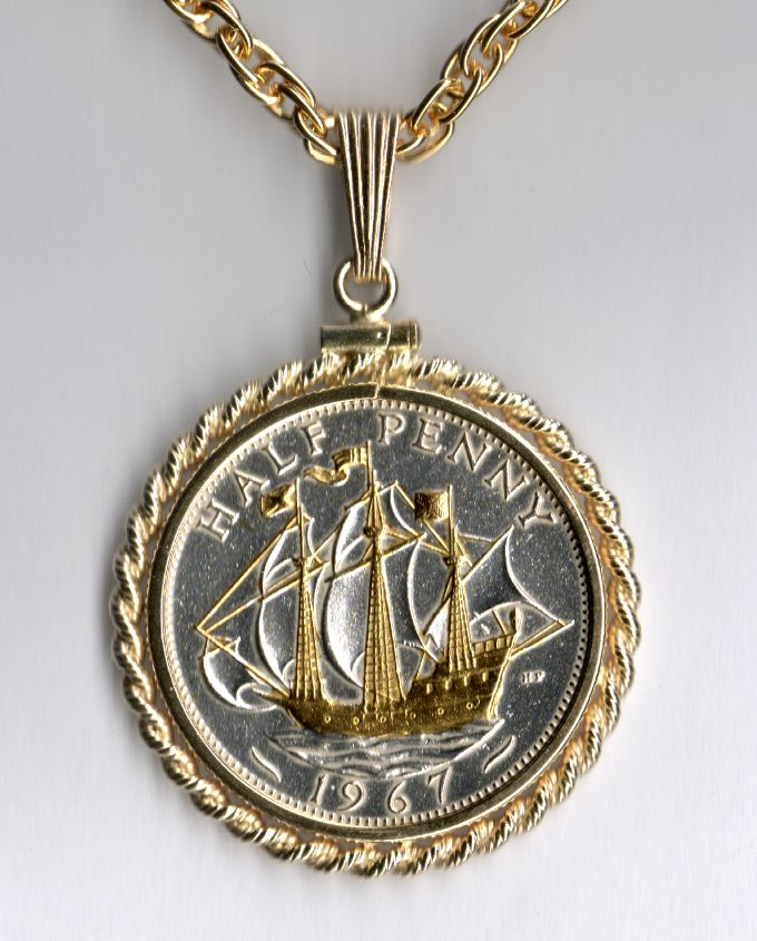 British Half PennySailing Ship Two Tone Plain Bezel Coin with 18 Chain