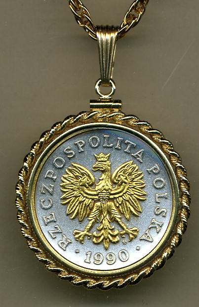 Coin Jewelry N 193 Gold On Silver Poland 50 Zlotych Eagle