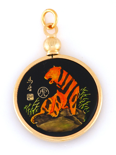 Hand painted chinese year of the tiger pendant 1926 1938 - Chinese year of the tiger 1986 ...