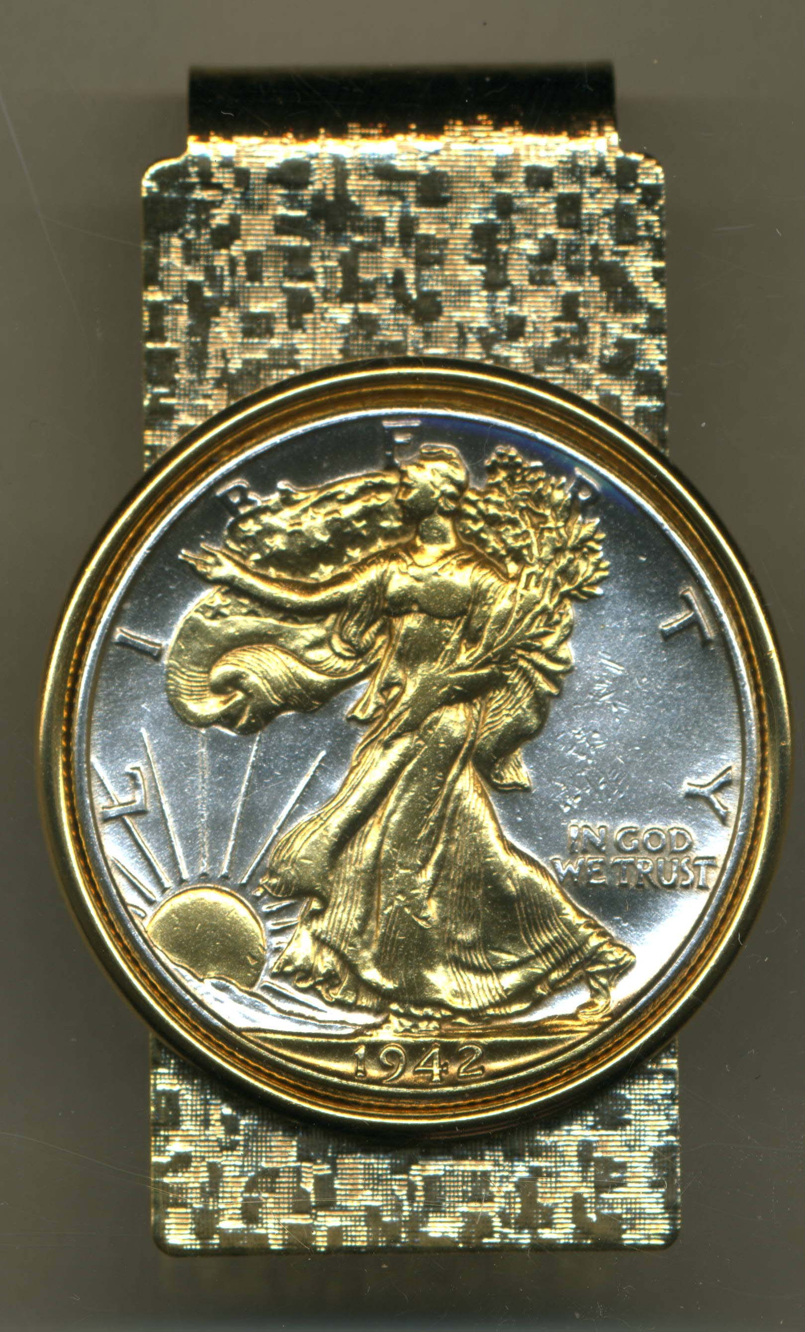 Gold On Silver Walking Liberty Half Dollar Obv Hinge