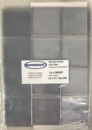 Supersafe Museum Grade Polyester Coin Flips - 2.5x2.5