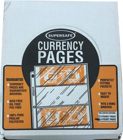 Supersafe Archival Pages -- 4 Pocket (Small Currency)