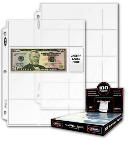 BCW Polypropylene Pages -- 4 Currency Pockets