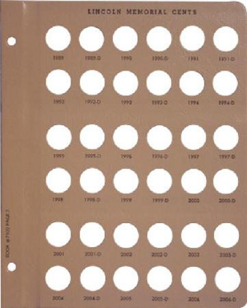Dansco Replacement Page 7100-7/7102-3: Lincoln Memorial Cents (1989 to 2006-D)