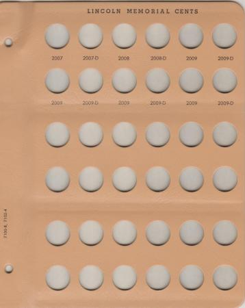Dansco Replacement Page 7100-8/7102-4: Lincoln Memorial Cents (2007 to 2009-D)