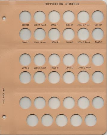 Dansco Replacement Page 8113-6: Jefferson Nickels w/ Proof (2002-D to 2005-S)