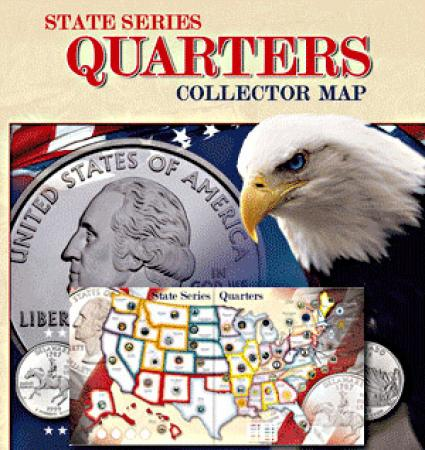 Whitman State Series Quarters Collector Map