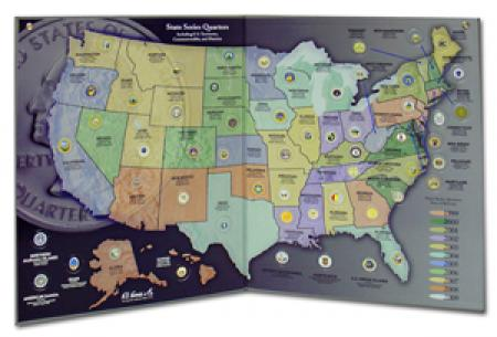 Harris State Series Quarters Collectors Map - Us map for collecting quarters