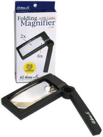 HE Harris Illuminated Folding Magnifier 2X-6X