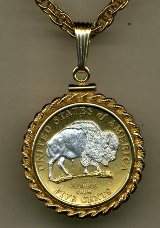 Silver on Gold Jefferson Nickel White Buffalo Necklace
