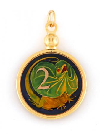 Hand Painted Australia 2 Cents Frilled Lizard Pendant