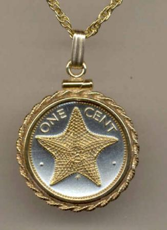 Gold on Silver Bahamas 1 Cent Starfish Necklace
