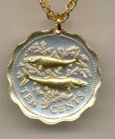 Gold on Silver Bahamas 10 Cent Bone Fish Necklace