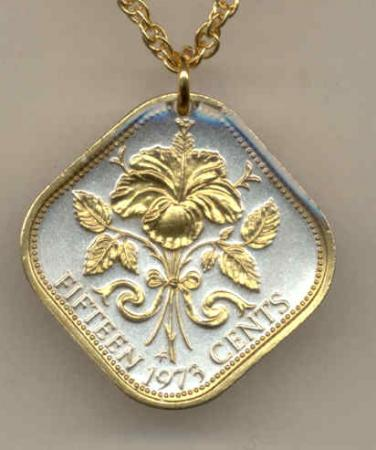 Gold on Silver Bahamas 15 Cent Hibiscus Necklace