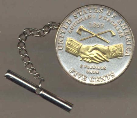 gold on silver jefferson nickel peace medal tie or hat tack