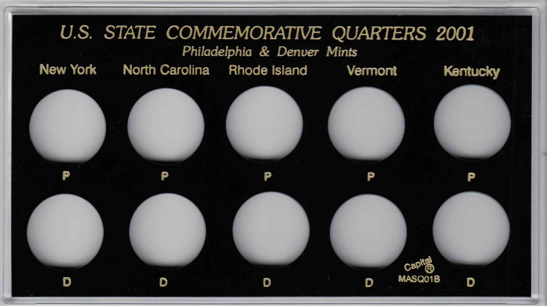 Capital Plastic Holder Snap For 7 US Proof Sets Of 5 Coins White Presentation