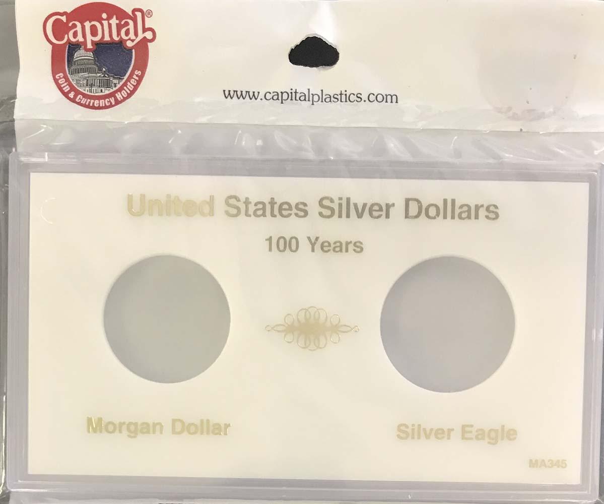 Capital Holder For 2 Silver Dollar Coins Morgan /& Peace Meteor Black Snaplock