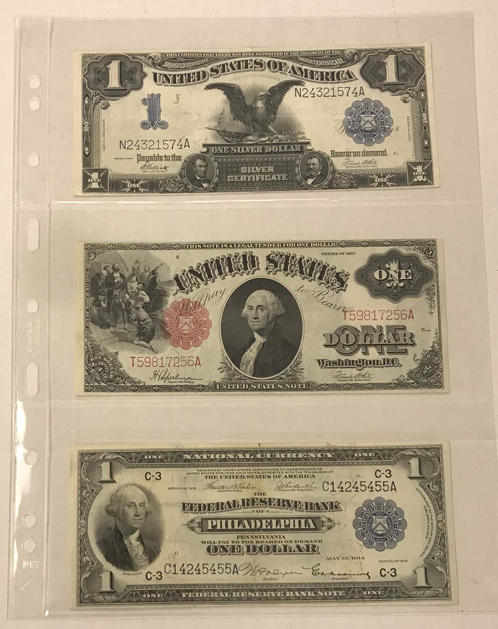 Hagner 3 Pocket Single Sided Stamp and Banknote Stock Sheets Pack of 10