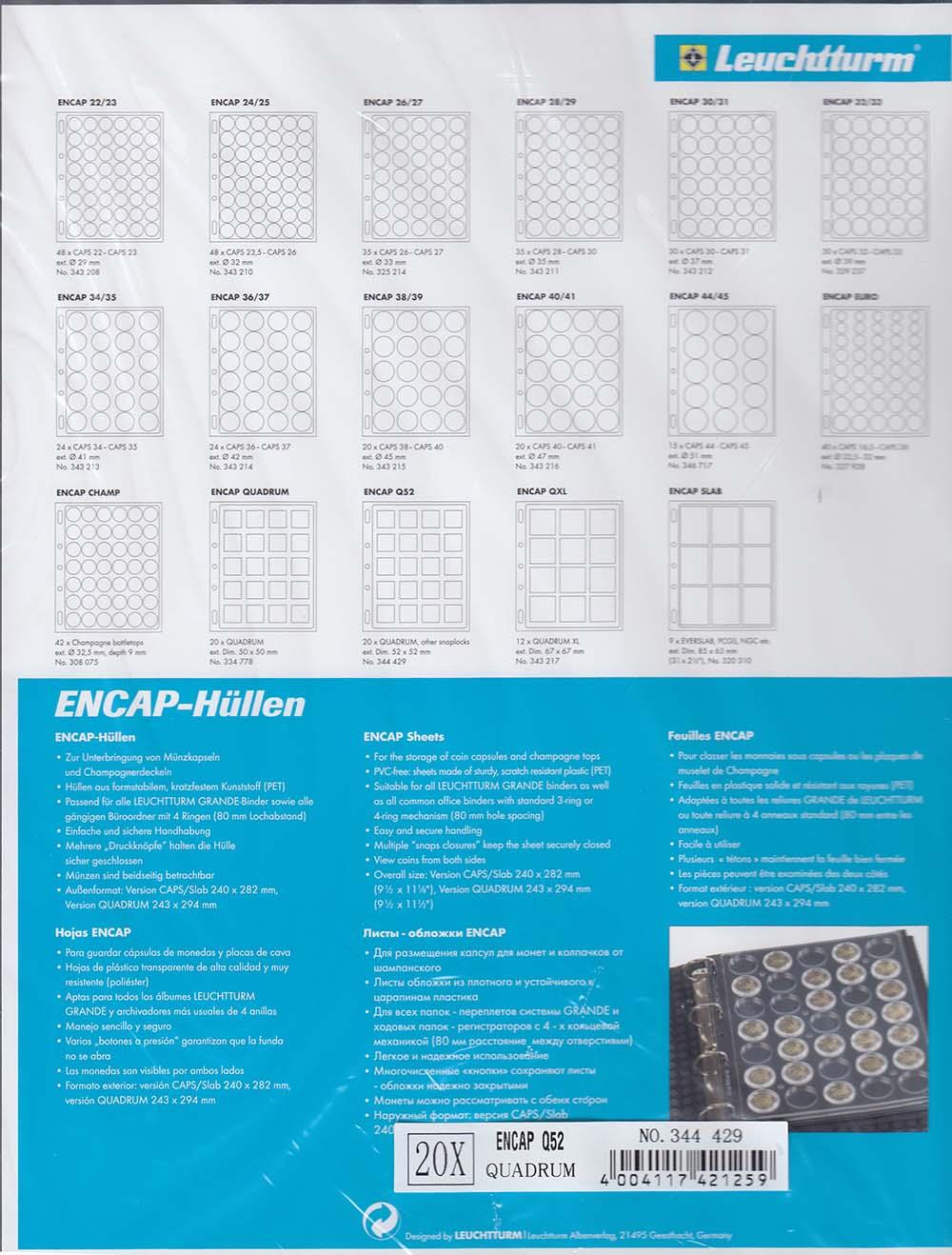 Ring Binder Album for 2x2 Quadrum Plastic Coin Capsule Holders 5 ENCAP pages