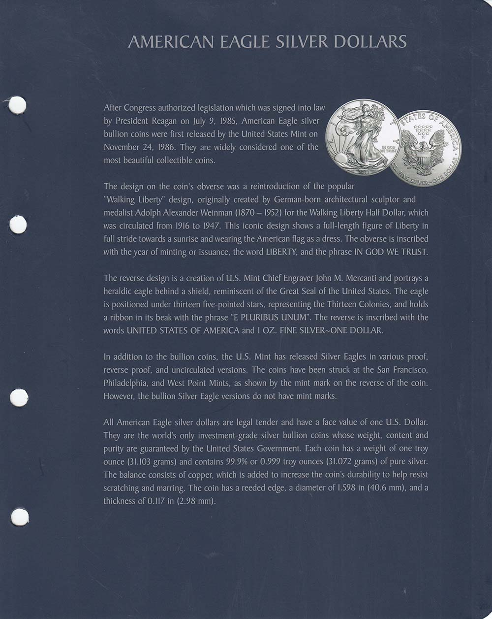 Album For American Silver Eagle Coins Lighthouse Vista High Quality Slipcase US