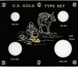 Capital Holder - U.S. Gold Type Set (20, 10, 5, & 2.50 w/ Illustration)