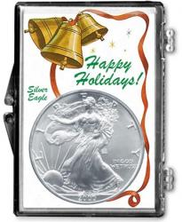 Edgar Marcus Snaplock Holder -- Happy Holidays -- Silver Eagle