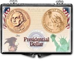 Edgar Marcus Snaplock Holder -- Presidential Dollar -- Obverse and Reverse