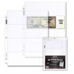 BCW Polypropylene Pages -- 4 Currency Pockets -- Pack of 20