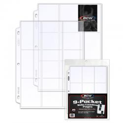 BCW Polypropylene Pages -- 9 Side Load Trading Card Pockets -- Pack of 20