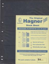 Hagner Stock Sheets -- Single Side, 4 Row -- Pack of 5 -- Black