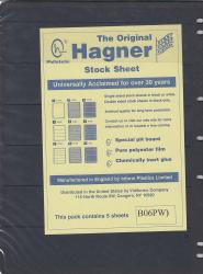 Hagner Stock Sheets -- Single Side, 6 Row -- Pack of 5 -- Black