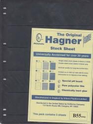 Hagner Stock Sheets -- Double Sided, 5 Row -- Pack of 5 -- Black