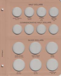 Dansco Replacement Page 7070-4: US Type (Half Dollars, Commem Half Dollars, Silver Dollars)