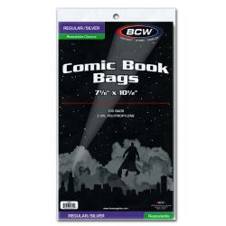 BCW Regular/Silver Comic Book Bags (Resealable)