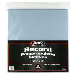 BCW 33 RPM Record Sleeves -- Polypropylene -- Pack of 100