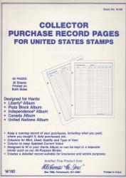 HE Harris Stamp Album Pages  -- US/BNA Purchase Records
