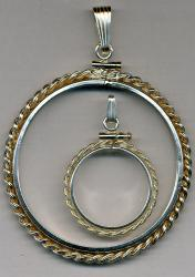Sterling Silver Simulated Rope Edge Bezel