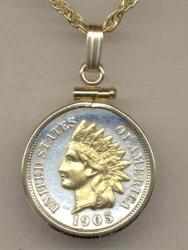 Gold on Silver Indian Head Cent Necklace