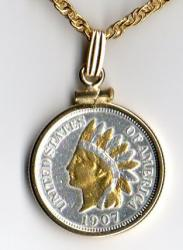 Gold and Silver on Silver Indian Head Cent Necklace