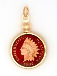 Hand Painted Indian Head Cent Pendant