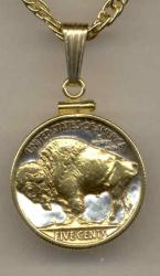 Gold on Silver Buffalo Nickel (Rev) Necklace