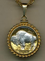 Silver on Gold Buffalo Nickel White Buffalo Necklace