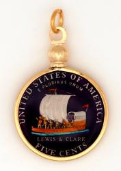 Hand Painted Jefferson Nickel Keelboat Pendant